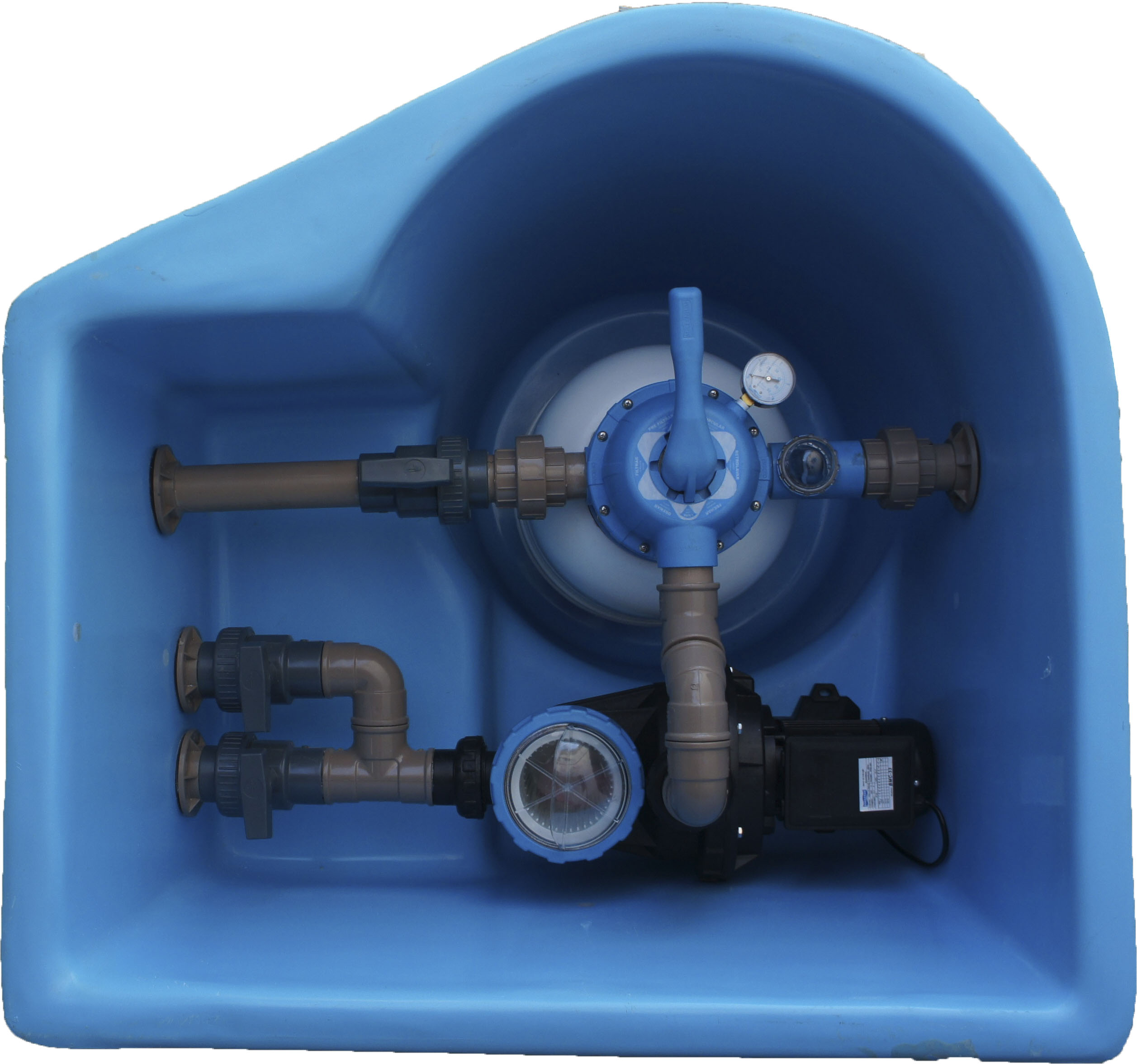Casa de maquina em fibra com filtro sodramar para piscinas - Motor de piscina ...